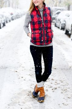 The perfect winter ensemble! Keep your legs and feet warm with leg warmers paired with a pair of duck boots.
