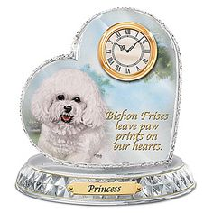 Bichon Frise Crystal Heart Personalized Decorative Dog Clock http://www.designerdogchecks.com/clocks/Bichon.php