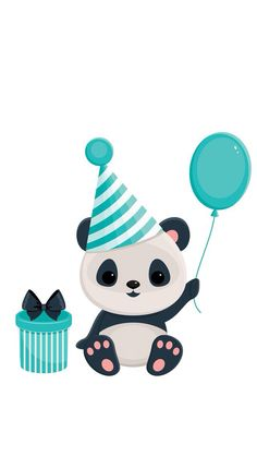 Illustration about Birthday panda with gift box and balloon. Panda in blue. Illustration of isolated, blue, illustration - 41050429 Panda Birthday Party, Panda Party, It's My Birthday, Panda Kindergarten, Happy Birthday Google, Panda Mignon, Panda Nursery, Panda Painting, Panda Drawing