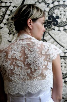 Alencon lace bridal shrug ivory by englishdept on Etsy, $350.00