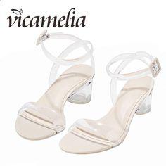 ed4569dc06e Vicamelia PVC Jelly Heel Sandale Ladies Transparentne Clear Classic Cipele  European Block Heel Lucite Peep Toe Buckle Sandale 104