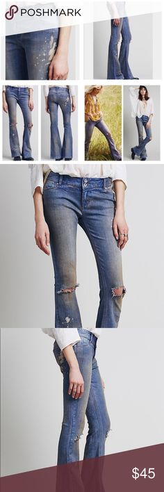 Free People Destroyed 5 Pocket Flare Jeans Brand New! All Distressed and wash is done by design. 98% Cotton 2% Spandex. Slightly Stretch! Free People Jeans Flare & Wide Leg
