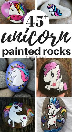 More than 45 beautiful rock painting ideas featuring unicorns! These aweseom unicorn craft ideas will inspire you to break out your paints and become part of the art rocks and kindness rocks movement...because the best painted rocks have unicorns!