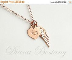 ON SALE Rose Gold Memorial Necklace Tiny feet by queeniejewels