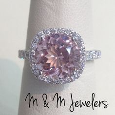 14K White Gold Micro Pave Cushion Halo Setting w/ by MandMJewelers, $2260.00