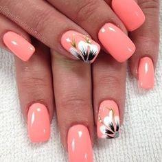 Flower Nail Designs, Nail Designs Spring, Acrylic Nail Designs, Nail Art Designs, Coral Nail Designs, Cute Summer Nail Designs, Manicures, Gel Nails, Acrylic Nails