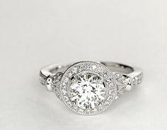 Monique Lhuillier Vintage Floral Halo Diamond Engagement Ring in Platinum (1/4 ct. tw.) | Blue Nile