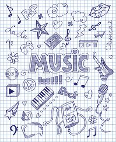 Illustration about Vector illustration of Hand drawn music set. Illustration of … Illustration about Vector illustration of Hand drawn music set. Illustration of baritone, lightning, background – 50721691 Notebook Covers, Binder Covers, Bullet Journal École, Doodle Drawings, Doodle Art, Doodle Frames, Music Drawings, Notebook Doodles, School Notebooks