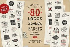 80 Modern Vintage Logos vol 1 by DISTRICT 62 STUDIO on @creativemarket