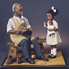 ' by Creager Studios - Jodi & Richard Creager African American Figurines, African American Dolls, Dollhouse Dolls, Miniature Dolls, Polymer Clay Dolls, Black Barbie, Paperclay, Beautiful Dolls, Art Dolls