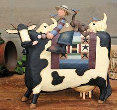 Boy on Cow With Puppies Figurine – Williraye Studio