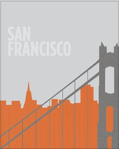 JanuaryJonesPrints SAN FRANCISCO, CALIFORNIA textured skyline with golden gate bridge art print poster wall decor