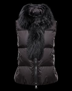 d2cf7370baae Moncler Down Elegant Fur Collar Short Brown Women Vests Outlet
