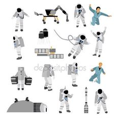 Download - Vector set of space icons in flat style isolated on white background. Astronauts, suit, moon station, rocket, rover — Stock Illustration #109682902