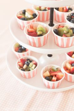 mini fruit cups- mix fruit with cool whip - Site Title 1st Birthday Party For Girls, Ballerina Birthday Parties, Ballerina Party, Birthday Ideas, 5th Birthday, Fruit Appetizers, Appetizers For Party, Reception Food, Fruit Cups