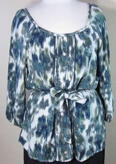ART & SOUL green print rayon bohemian belted tunic blouse M (T2803C5F) #ArtandSoul #Blouse #Casual