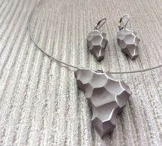 Original concrete jewelry set Psyche with silver