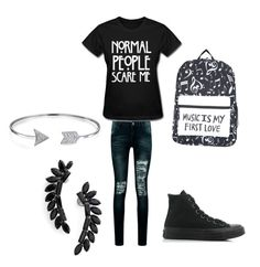 """""""School"""" by sammyduerr on Polyvore featuring Boohoo, Converse, Bling Jewelry and Cristabelle"""