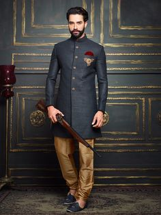 Buy Dark Grey Terry Rayon Solid Jodhpuri Sherwani online in India at best price.eight 2 Kg Dispatch Date Jan, 2017 Occasion Wedding Work Resham, Thread Pattern Churidar Wedding Dress Men, Indian Wedding Outfits, Wedding Men, Wedding Suits, Indian Outfits, Blue Wedding, Sherwani Groom, Mens Sherwani, Wedding Sherwani