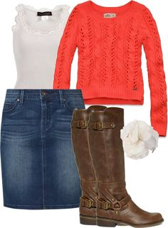 """""""orange-white-jeanskirt- boots"""" by fiddlegrass-ashley ❤ liked on Polyvore"""