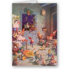 Santa's Workshop at the North Pole, Christmas Eve Greeting Card by ChristmasCafe