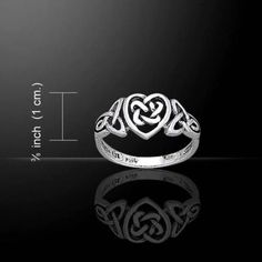 Celtic Woven Knot Heart Ring .925 Sterling Silver Ring Deep Love - Passion - Promise - Affection - Entwined Hearts. This ring is 3/8 inch at widest point. The Celtic Heart is a symbol of the inner pas