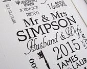 Classic Wedding Day Print ,  Anniversary - Marriage Personalised Unique Gift A4 Typography Word Art . Gift Keepsake Marriage Mr Mrs Love