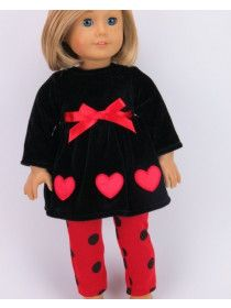 Celebrate Valentine's Day in this adorable outfit! Your 18 inch doll will fall in love with this black and red ensemble. This two piece set includes a black velvet dress that has red hearts and a red bow! The look is completed with red leggings that have black polka dots on them. Clothes designed to fit 18 inch dolls such as American Girl ®, Madame Alexander, Gotz, Our Generation, Corolle and Journey Girls-Not Affiliated. Dolls and shoes not included