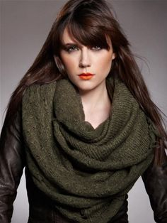 Frayed Infinity Scarf in Army Army $85.00