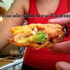 Fried Avocado with cheese and bacon. Fried Avocado, Avocado Fries, Puerto Rican Recipes, Puerto Ricans, Bacon, Spanish, Cheese, Homemade, Ethnic Recipes