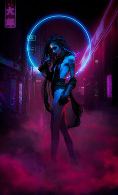 Neon Witch | Cyberpunk woman android robotic cyborg female character, in erotic futuristic cyberpunk fashion costume scifi tech outfit, concept art female character design matte painting illustration artwork, dark, blade runner inspired purple neon fantasy girl in heavy armour tech outfit with helmets guns and weapons, inspiration ideas   Artstation