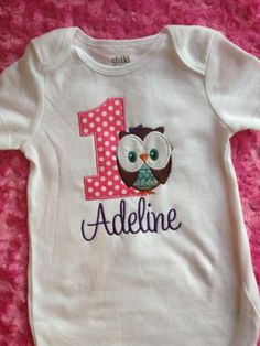 Owl First Birthday Onesie by MyLittleManBoutique on Etsy, $20.00  How crazy that I'm doing Adelyne's bday party in owls and find the onesie just a different spelling. :)