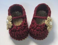 Baby girl booties - Baby girl slippers -Baby girl maryjanes - Baby girl shoes - Garnet and gold - FSU on Etsy, $13.00