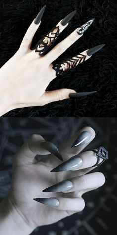 22 Wicked Long Black Nails Cool Girls Should Have a Try! - Page 2 of 6 Longer is cooler. Wickedly longer is much cooler. Long nails is always the hottest nail among the popular. And long black nails is the top 1 best color for cool girls. Long Black Nails, Black Nail Art, White Nails, Bling Nails, Goth Nails, Halloween Nail Designs, Halloween Nail Art, Pointy Nails, Nail Decorations