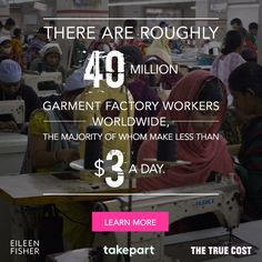 From the world's darkest slums, to the exclusive runways of the fashion elite, to your closet, The True Cost exposes the real lifecycle behind fast fashion and its unsustainable mission to sell more clothes, at any cost. Watch The True Cost Movie