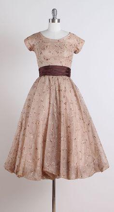 Mocha Meltaway . vintage 1950s dress . by millstreetvintage