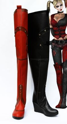 Harley boots ♡  https://www.etsy.com/listing/188766998/batman-harley-quinn-cosplay-shoes-boots