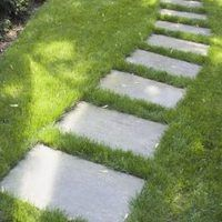 to Set Flagstone in Grass Concrete pavers set below grass line. Easy, informal walkway from driveway to the back yard. This is what I need only about of them.This This may refer to: Front Yard Walkway, Gravel Walkway, Backyard Walkway, Garden Pavers, Garden Steps, Diy Garden, Small Backyard Landscaping, Landscaping Ideas, Walkway Ideas