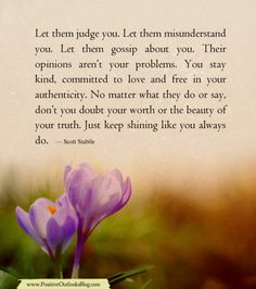 Let them judge you. Let them misunderstand you. Let them gossip about you. Their opinions aren't your problems. You stay kind, committed to love & free in your authenticity. No matter what they do or say, don't you doubt your worth or the beauty of your truth. Just keep shining like you always do. ~ Scott Stabile