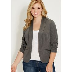 maurices Plus Size - Knit Blazer With Cinched Sleeves (€45) ❤ liked on Polyvore featuring outerwear, jackets, blazers, med gray heather, plus size, faux jacket, gray blazer, plus size jackets, knit sleeve jacket and knit blazer