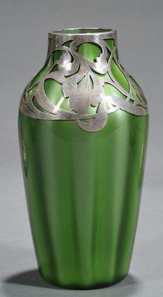 ❤ - Loetz   Loetz Grun Metallin Vase with Art Nouveau Silver Overlay Art glass and silver Austria, early 20th century.