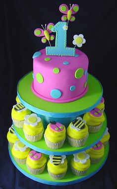 i like the idea of a small cake for ryah and cupcakes for guests...but i would wanna do it in owls.