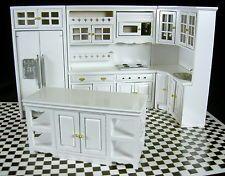 Dolls House Miniature 1:12 Modern White Wooden Fitted Kitchen Furniture Set