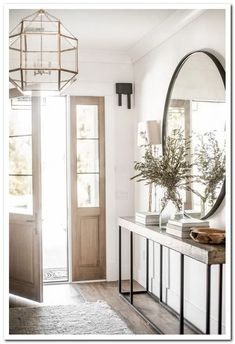 Modern Farmhouse Entry Styling - - Best My deas Flur Design, Home Design, Home Interior Design, Foyer Decorating, Interior Decorating, Decorating Tips, Entry Tables, Hallway Designs, Entryway Decor