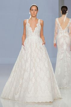 V-Neck Floral Lace Wedding Dress with Full Skirt and Pockets  f5807a3431