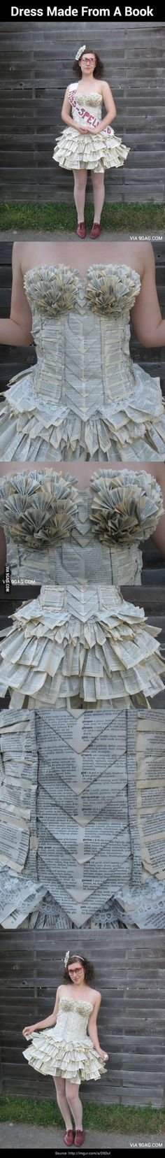 She made a dress out of a book!