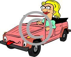 Cartoon Girl Driving Car .PNG