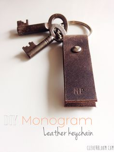 DIY monogram leather keychain. Great gift idea for anyone on your list. Click here for a full tutorial.