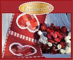 Patchwork Valentine Table Runner Kit: What a lovely way to dress up your table this February! This quick and easy table runner project features wool felt doilies around the patchwork hearts. Kit includes pattern and all fabrics including wool felt, binding and backing. Finished size of 12 1/2