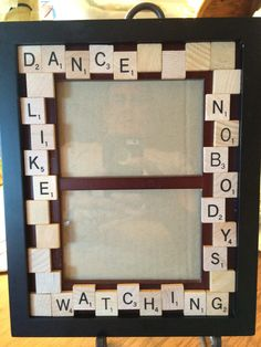 Upcycled scrabble tile picture frame Dance like by beadbug69